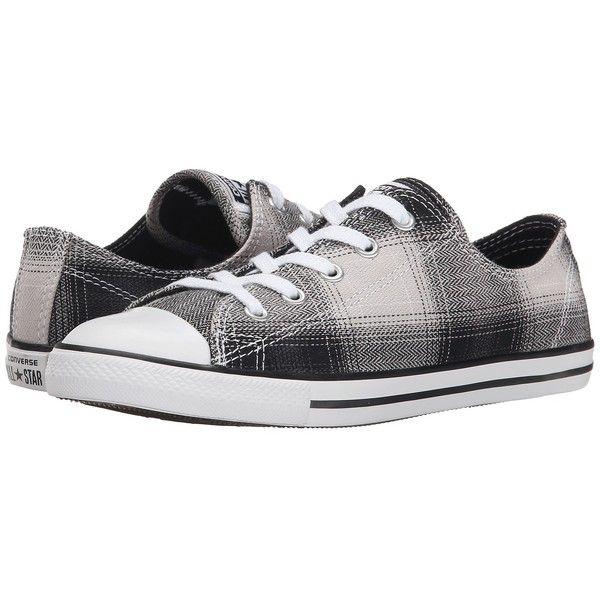Converse Chuck Taylor All Star Dainty Plaid Ox Womens Black White Black Sneakers