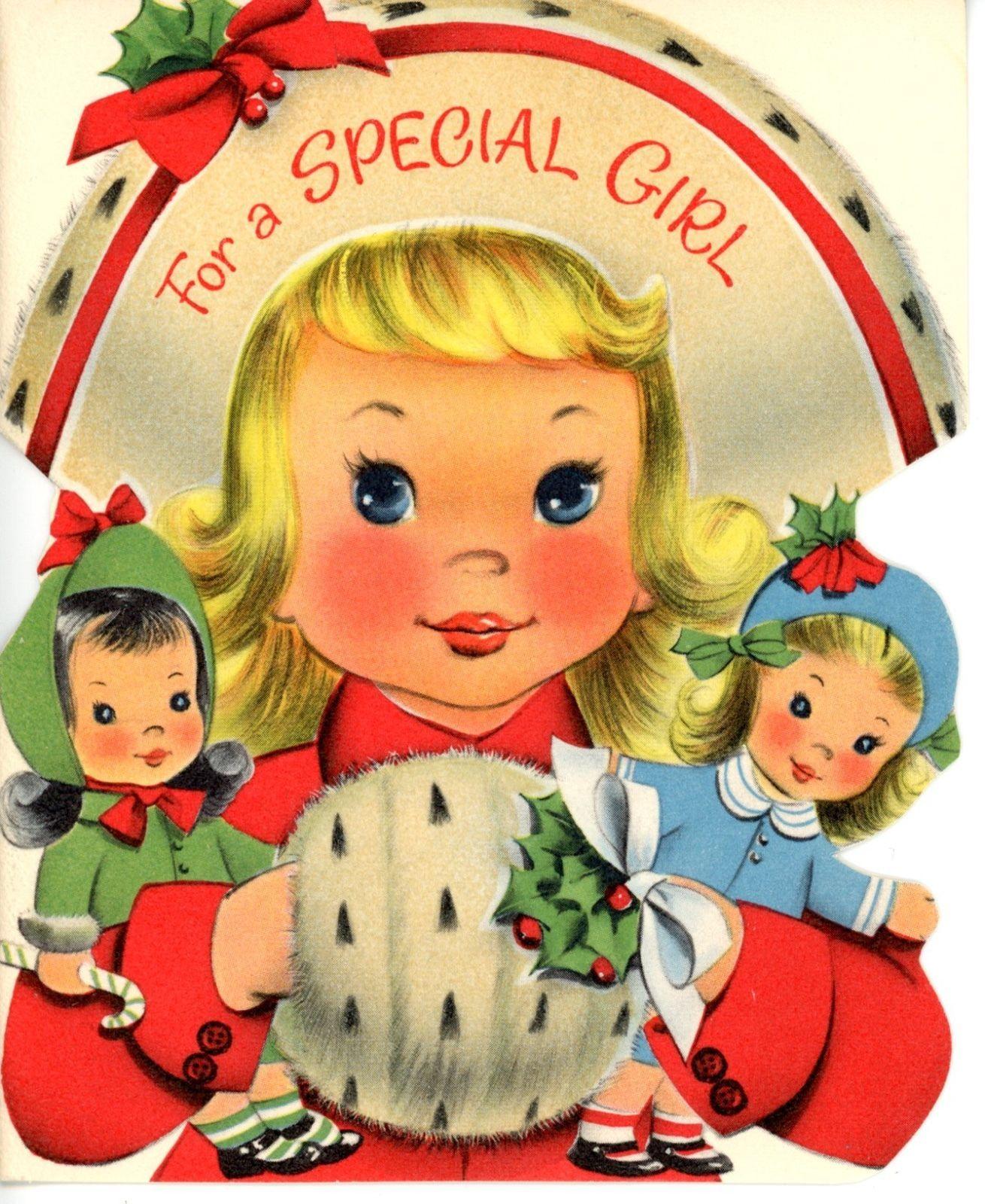 Vintage norcross christmas greeting card girl w 2 dolls glittery vintage norcross christmas greeting card girl w 2 dolls glittery hat muff 2503 kristyandbryce Image collections
