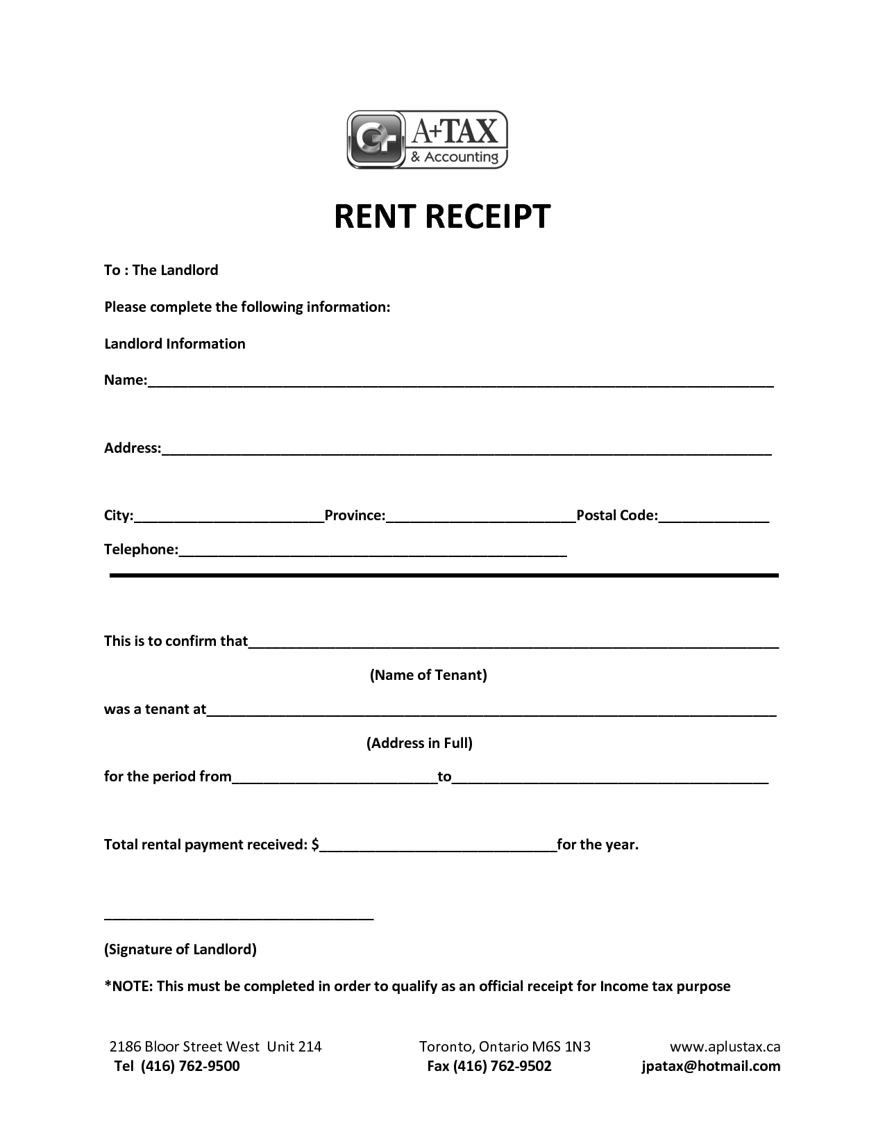 house rent receipts for income tax
