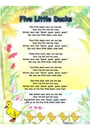 English Teaching Worksheets Five Little Ducks