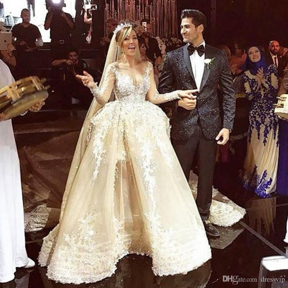 2016 Luxury Organza Chapel Wedding Dresses With Long Sleeves Pearls Sheer Neck Wedding Dress Applique A-Line Bridal Gowns