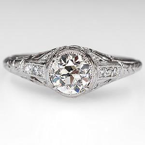 Art Deco Filigree Engagement Ring Old Euro Diamond
