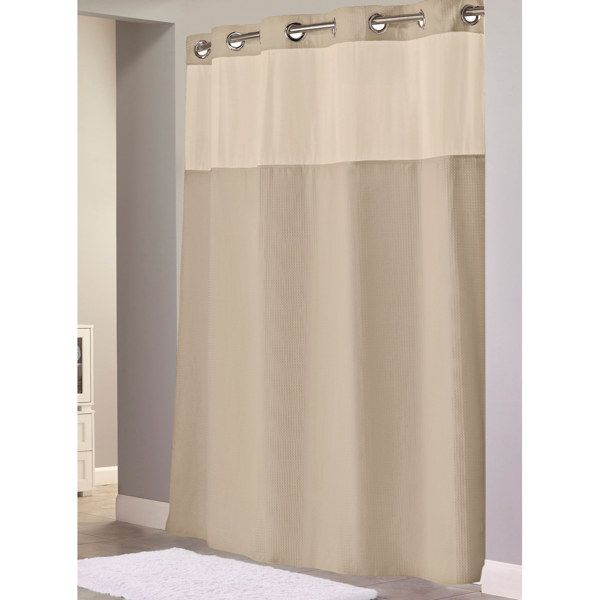 Hookless® Waffle Taupe 71\' W x 74\' L Fabric Shower Curtain and ...