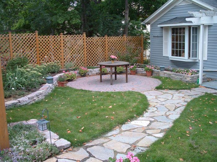 Gartenwege  gartenwege garten gestalten grüner rasen schöner gartenzaun ...