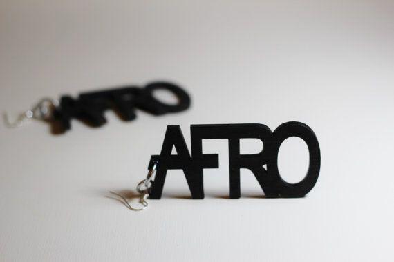 AFRO WORD Dangle Earrings  Black by AFroDisiacs on Etsy, $12.50