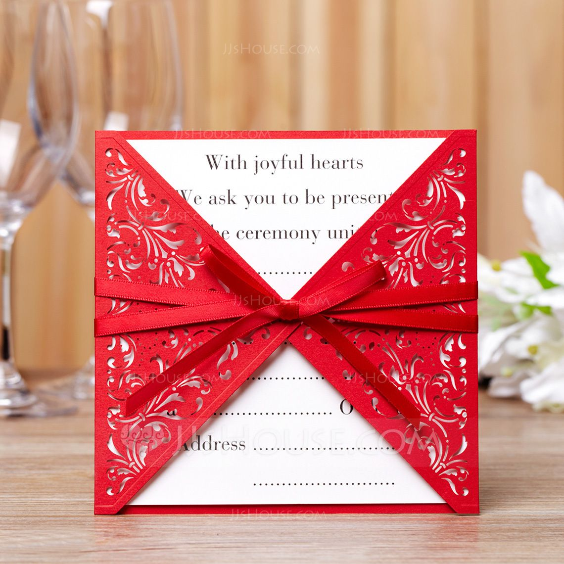 Classic Style Wrap & Pocket Invitation Cards With Bows (Set of 50 ...