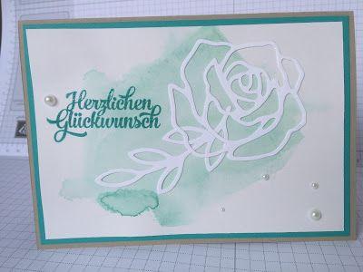 Stampin mit Scraproomboom - Stampin' Up! - Thinlits Rosengarten - Aquarelltechnik - Grußelemente