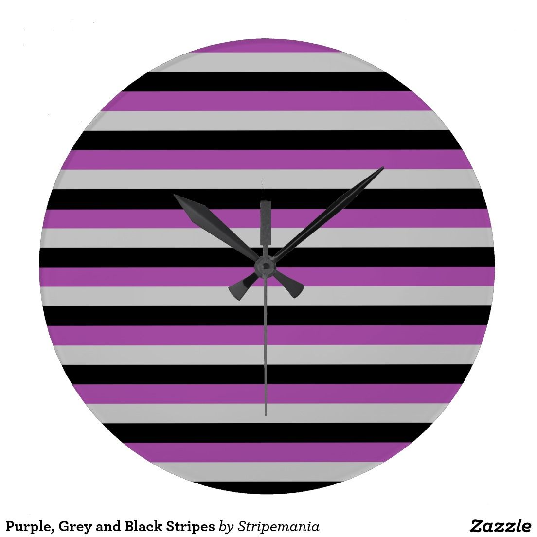 Purple, Grey and Black Stripes Large Clock