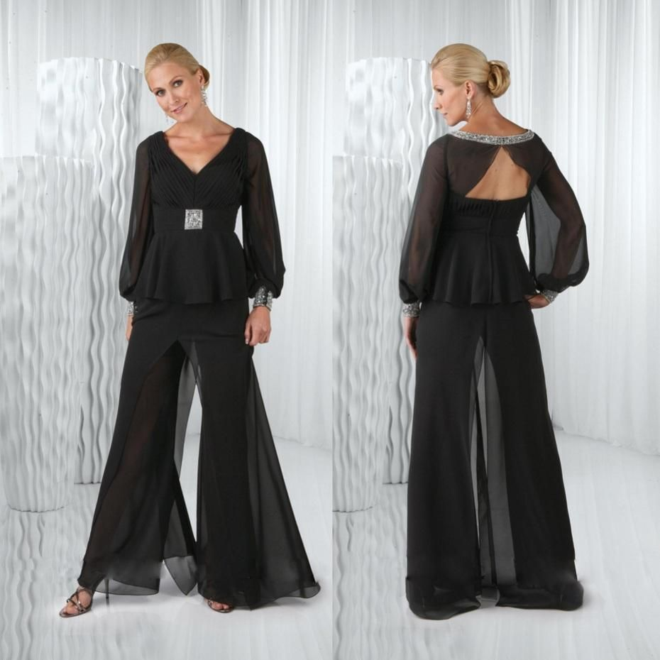 Black Chiffon Mother Of The Bride Pant Suits Long Sleeves