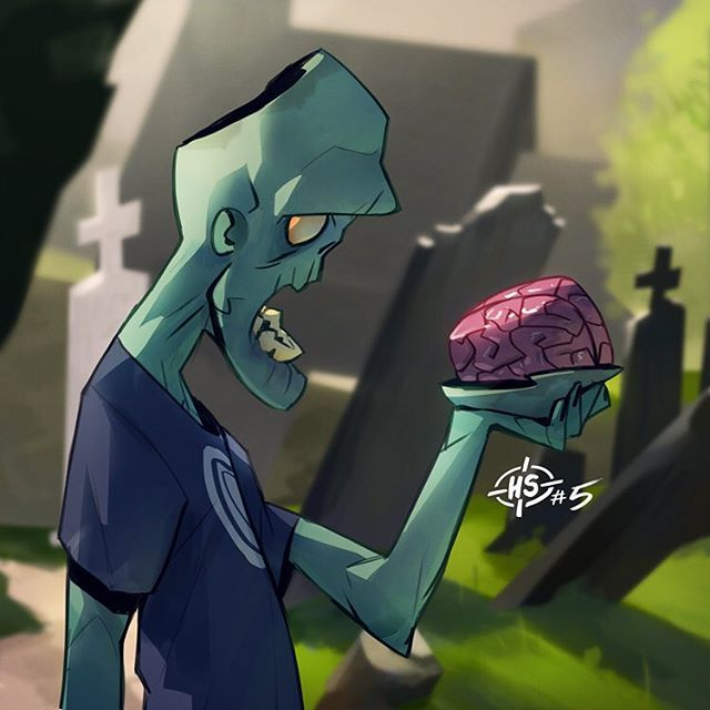 Headshot # 5. I wanted to practice involving more background in this one! #drawing #daily #zombie #brain #headshot #digital #art #grecke #illustration #sketch ★ Find more at http://www.pinterest.com/competing/