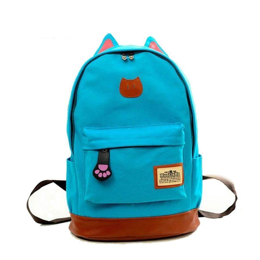 48523969ca6 New Cat Ear Cartoon Canvas Backpack For Women Girls Satchel School Bags Cute   SHUNVBASHA  Backpack