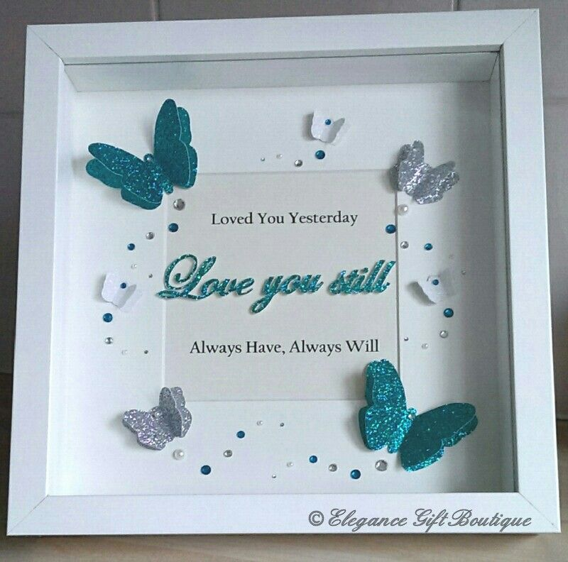 3D Butterfly Frame with handcut writing. Butterflies are all hand ...