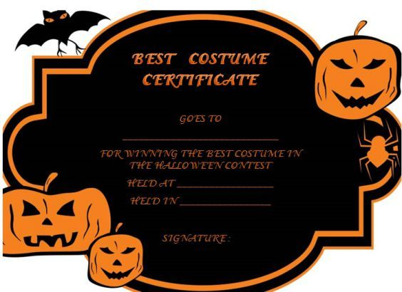 Halloween Costume Certificate Template Halloween Costume