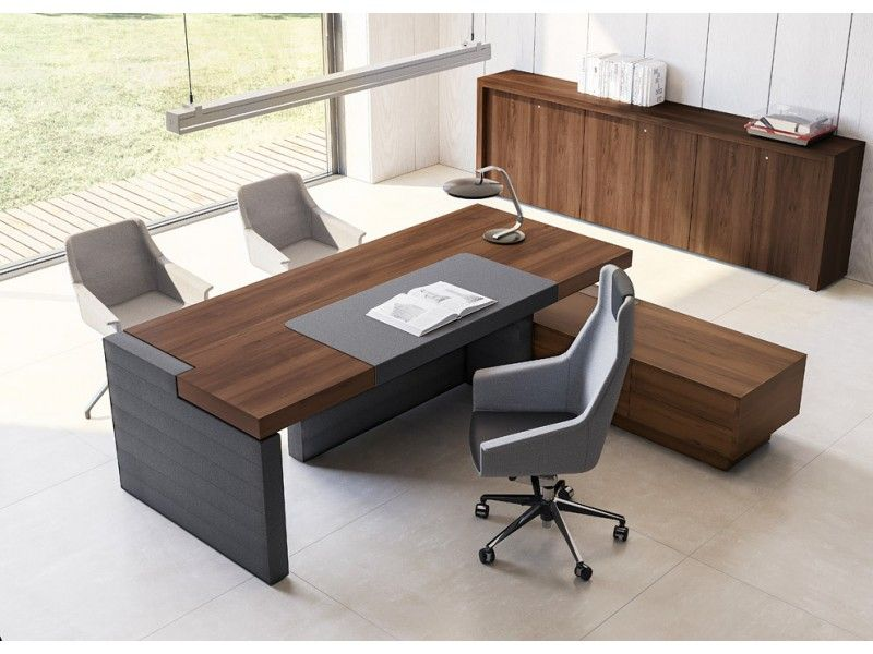 JERA 04 Design Büro, Leder Chefschreibtisch mit Tischcontainer ...