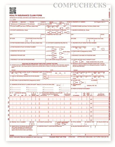 NEW CMS 1500 Claim Forms - HCFA (Version 02\/12) (500 Sheets) 1 - medicare form