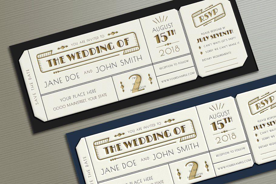 Ad Art Deco Wedding Invitation Ticket By Vynetta On Creativemarket Art Deco Deco Wedding Invitations Ticket Wedding Invitations Art Deco Wedding Invitations