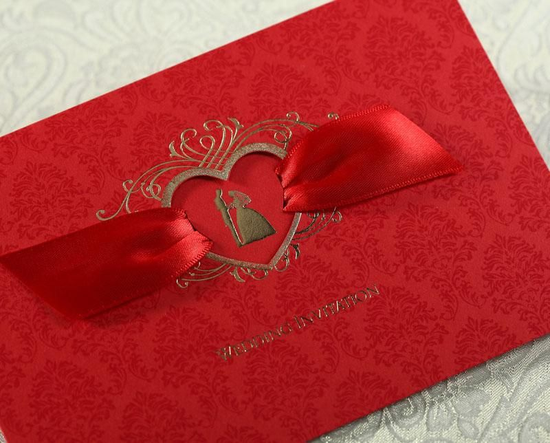 Asian Theme Heart Hollow Out Ribbon Red Wedding Invitation Card ...