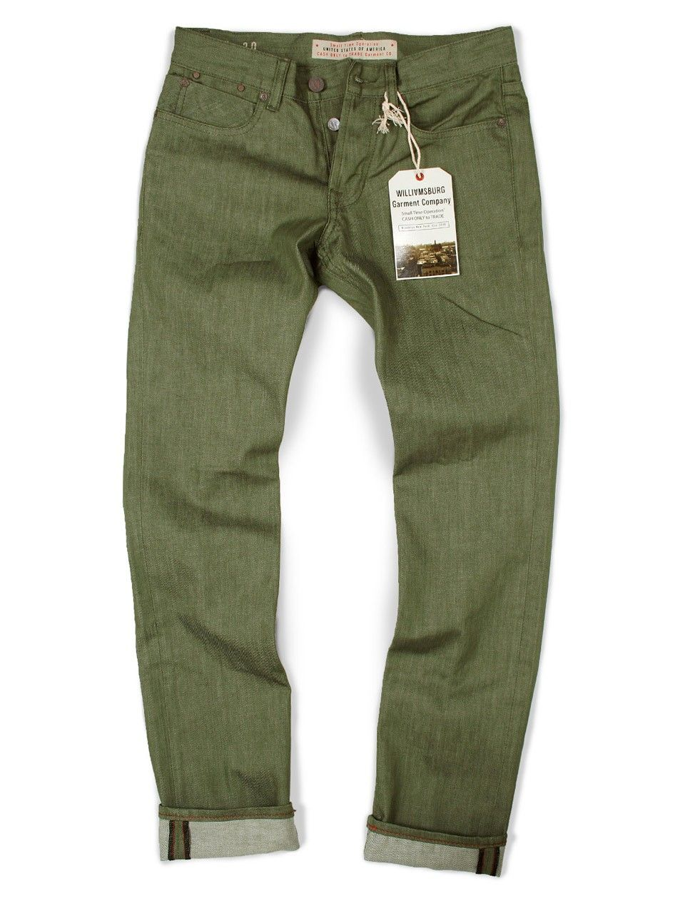 Williamsburg Garment Company, Inc - Raw Sage Green Slim Jeans ...