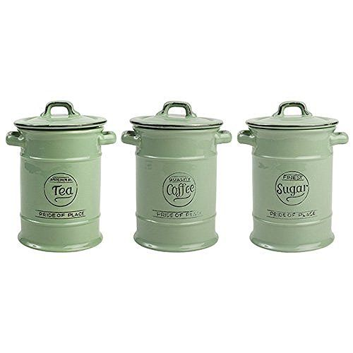 Pride Of Place Tea Coffee And Sugar Storage Jars Green By T G