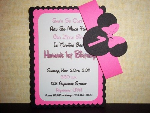 Minnie Mouse Birthday Invitation Minnie mouse, Mice and Minnie - birthday invitation homemade