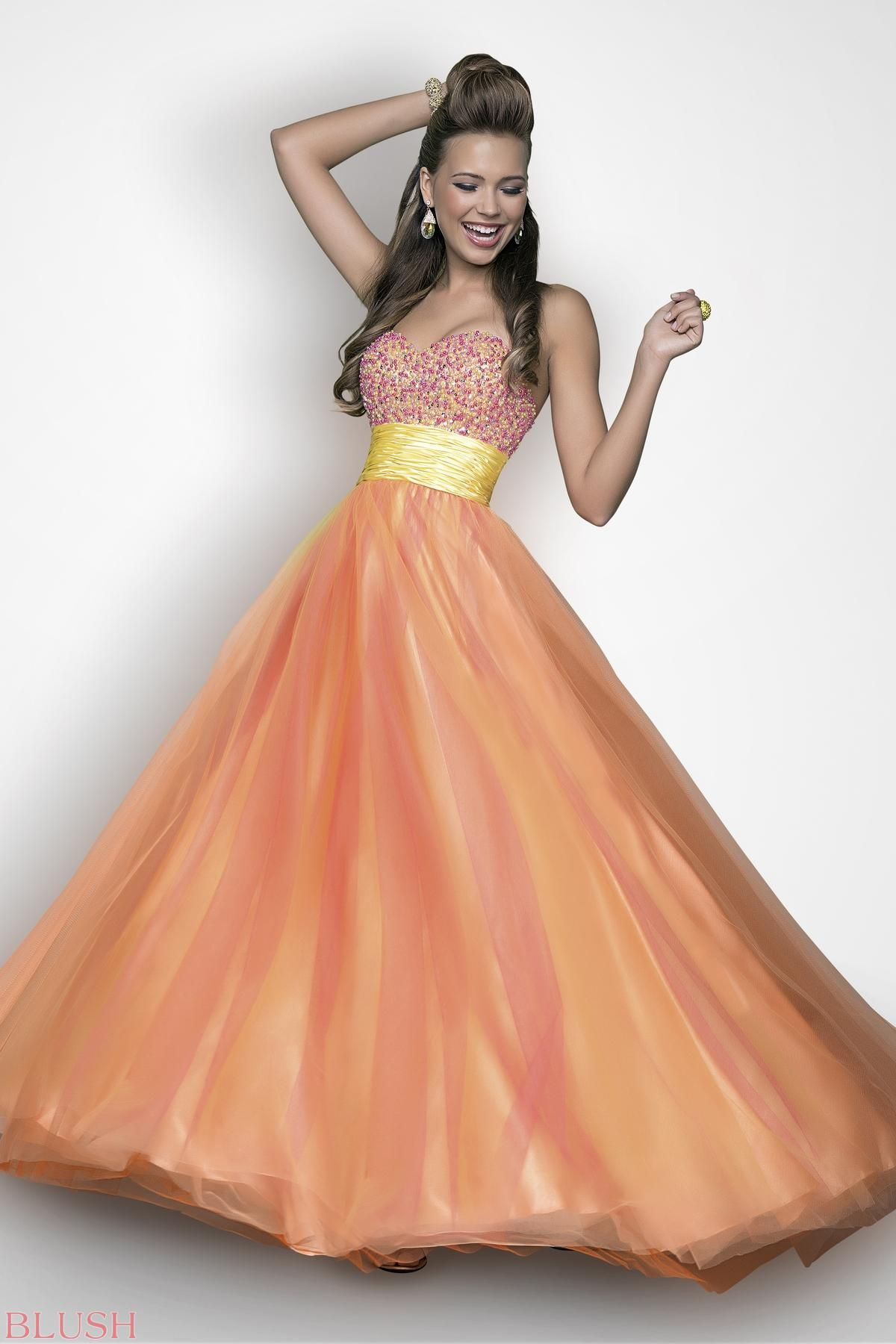 Pastel beads rock this sexy prom dress jeweled baby pearls drape