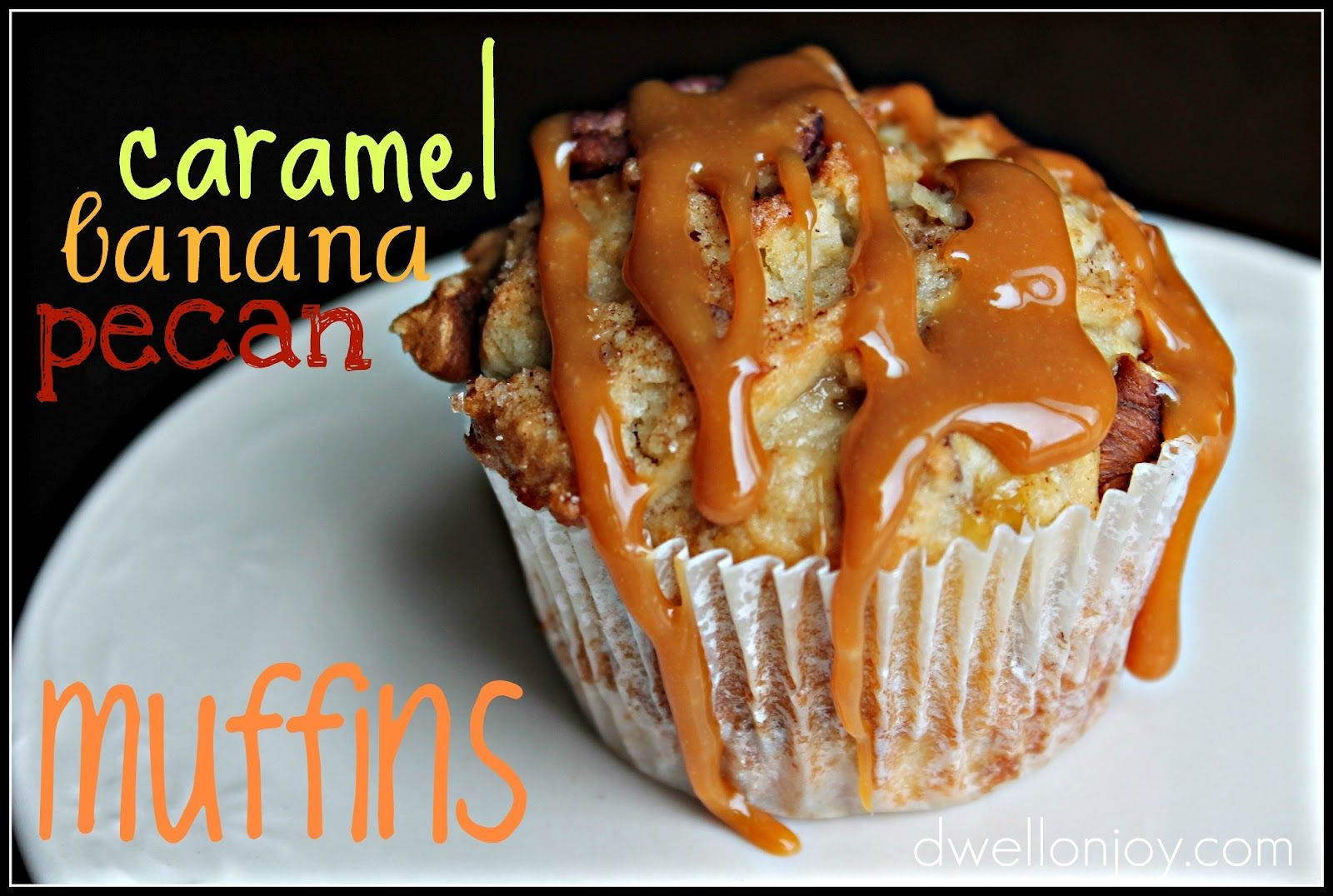 Caramel-Banana-Pecan Muffins  {you can omit the caramel if you'd like more of a breakfast muffin, but who would want to do that?!}