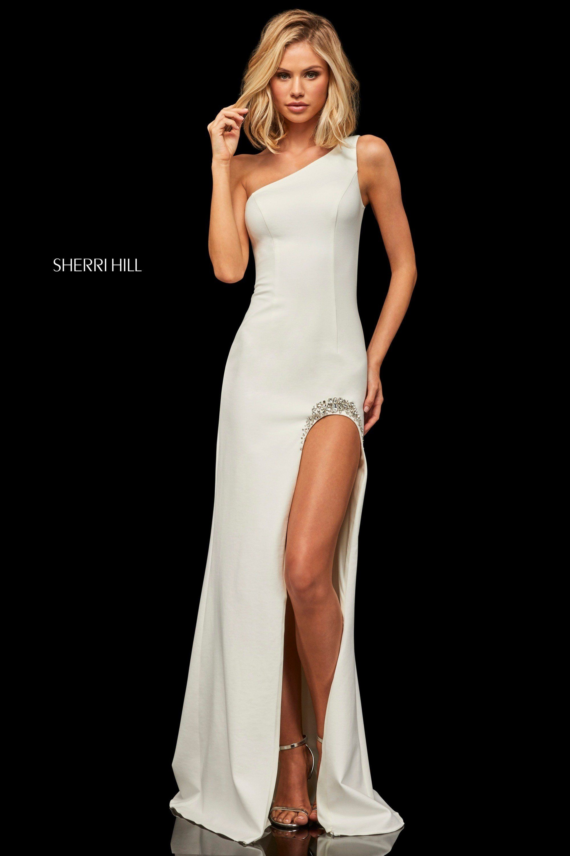 66ea9896f3 Sherri Hill 52936 One Shoulder Scuba Dress in 2019