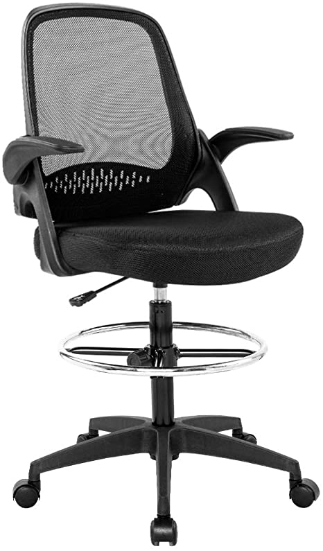 Amazon Com Drafting Chair Tall Office Chair Desk Chair Mesh Computer Chair Adjustable Height With Lumbar S In 2020 Tall Office Chairs Office Chair Mesh Computer Chair