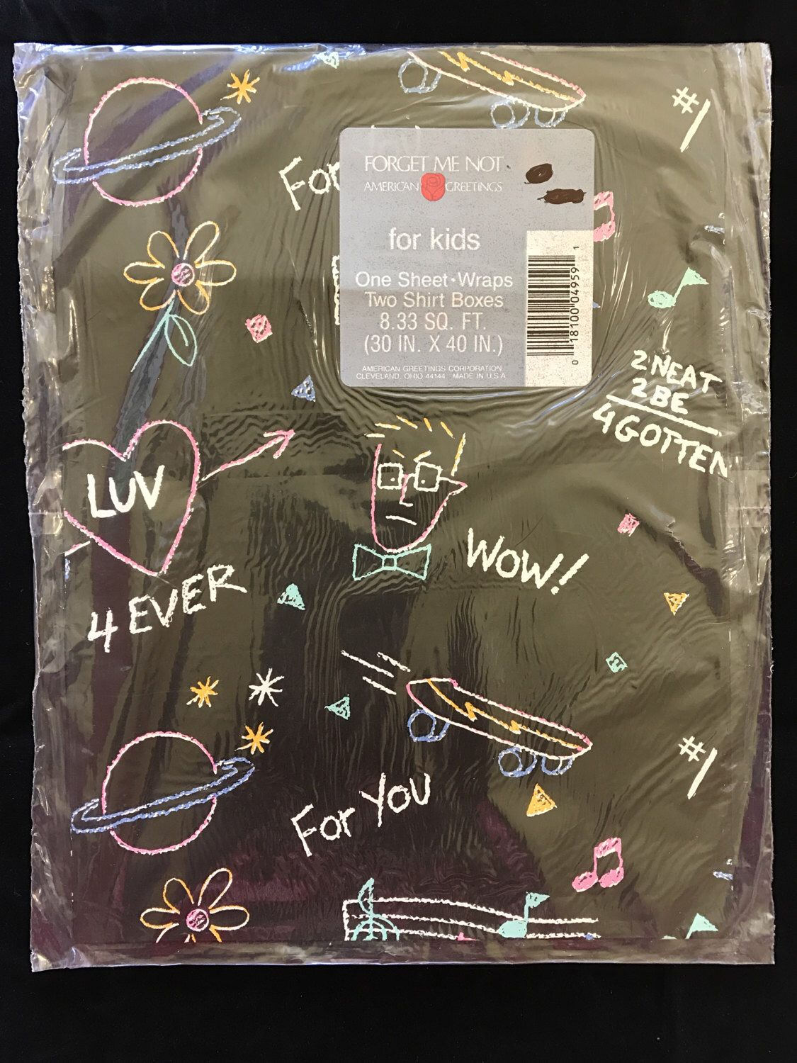 Vintage American Greetings Forget Me Not For Kids Gift Wrap
