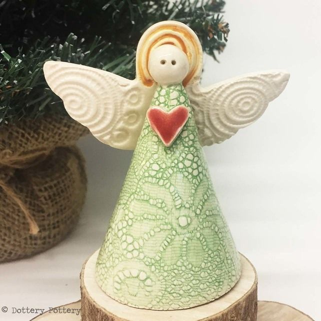 Ceramic Angel Christmas Decoration Christmas Tree Angel Ornament Pottery Angel