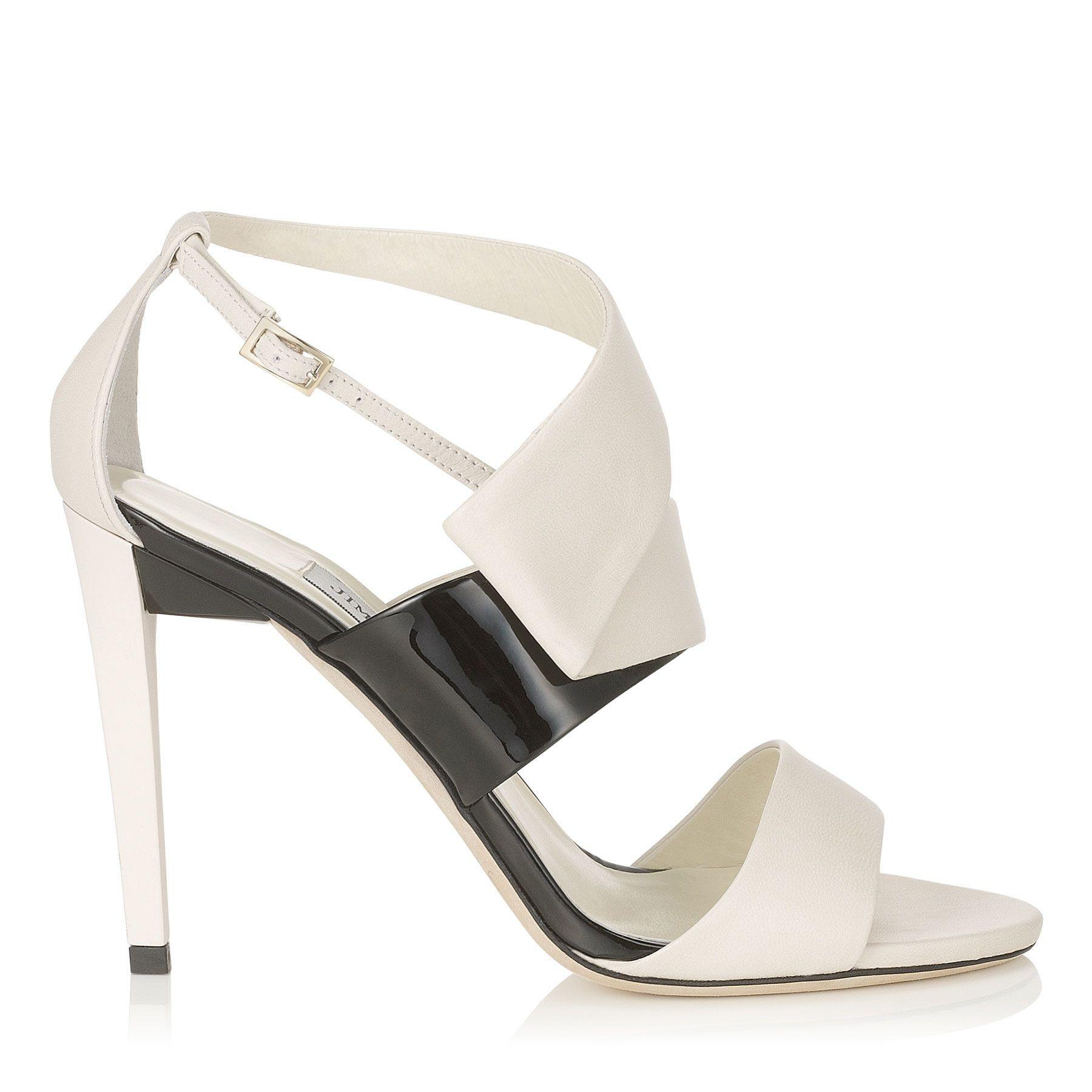 Jimmy Choo Trapeze 100 Nappa Patent Leather Women Sandals Off White/ black
