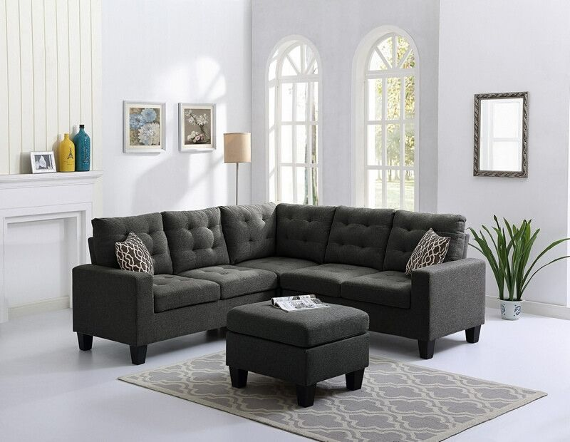 Oah D6707 4 Pc Collette Steel Gray Faux Linen Fabric Sectional Sofa With Ottoman Sectional Sofa Sectional Sofa Furniture Sofa