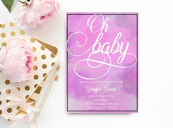 Watercolor purple baby shower invitation for a girl simple baby watercolor purple baby shower invitation for a girl simple baby shower invitation its a girl baby shower invitation printable instant purple baby filmwisefo