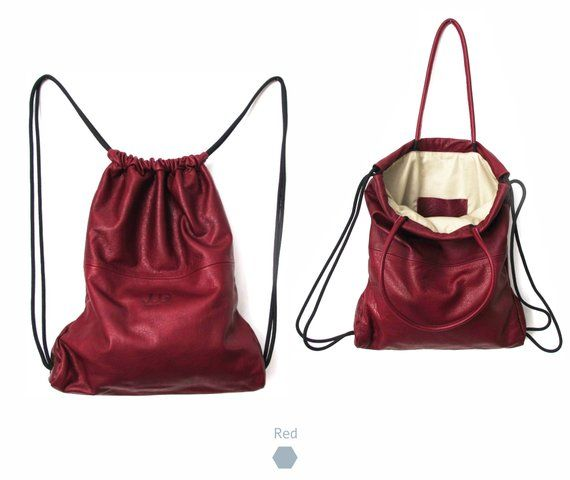 f113ee683f Red leather backpack purse multi way leather sack bag SALE soft leather  back bag - leather tote - le