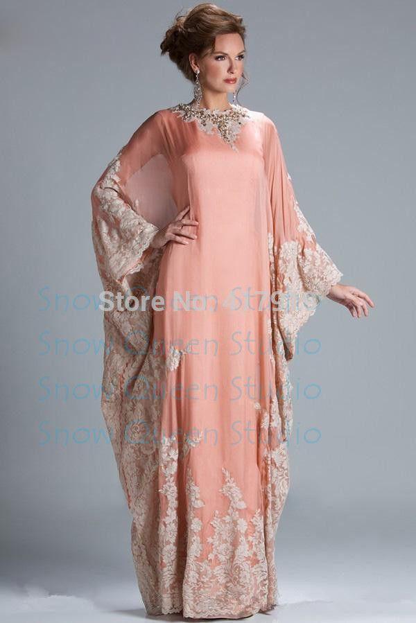 c74a2bcb224 Арабский стиль вечерние платья элегантный высокая шея с длинным рукавом  кружева аппликации линии длинные пром ну вечеринку платья арабский купить в  магазине ...