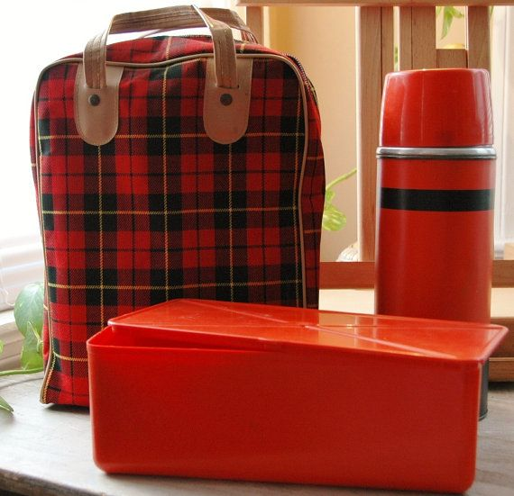 Vintage 1960's Aladdin Plaid Lunch tote with by LiveTrueVintage, $45.00