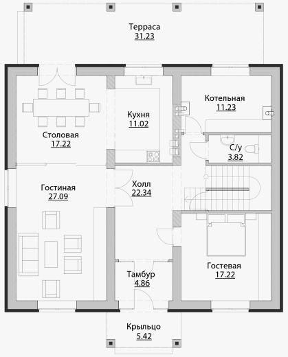 C-223 Проект двухэтажного дома в классическом стиле ...