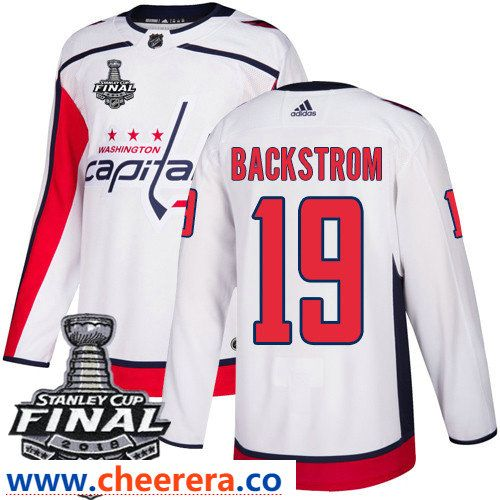 Washington Capitals  19 Nicklas Backstrom White Stitched Adidas NHL Away  Men s Jersey with 2018 Stanley Cup Final Patch e0112e7dc