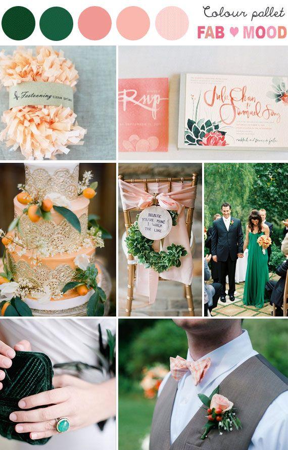 Emerald And Peach Wedding