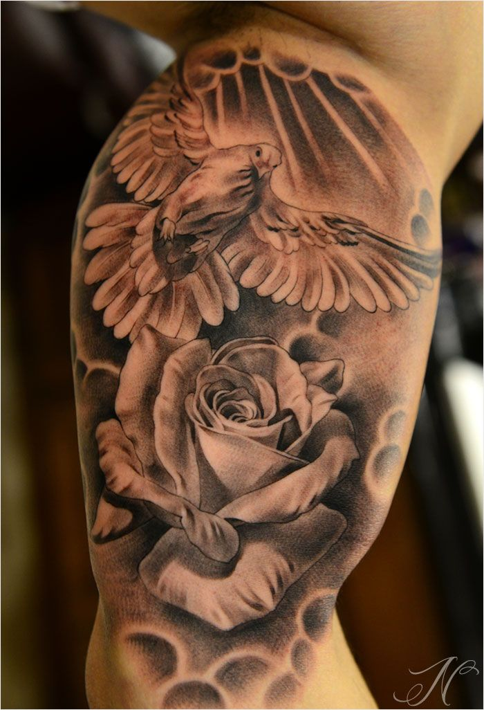 Dove Rose Tattoo Inner Upper Arm By Noah Tats Pinterest