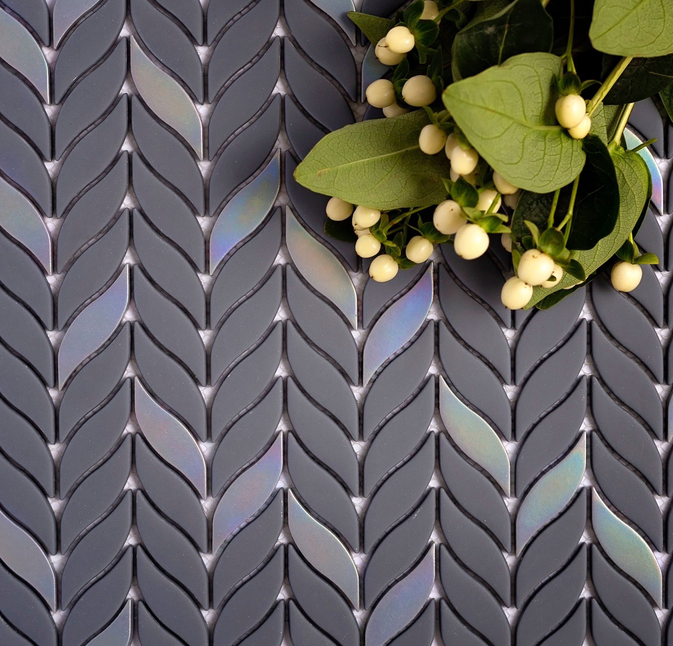 Photo of Blue Leaf Recycled Glass Mosaic Tile