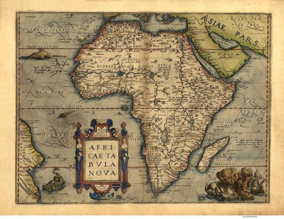 Africa antique 1570 map by ortelius reprint by oldmap on etsy for africa antique 1570 map by ortelius reprint by oldmap on etsy gumiabroncs Images