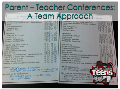 This Format For Parent  Teacher Conferences Allows The Homeroom