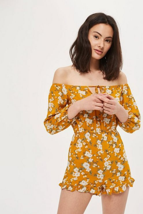 3f1d18f85a Womens   Floral Printed Bardot Playsuit By Glamorous Petites - Mustard