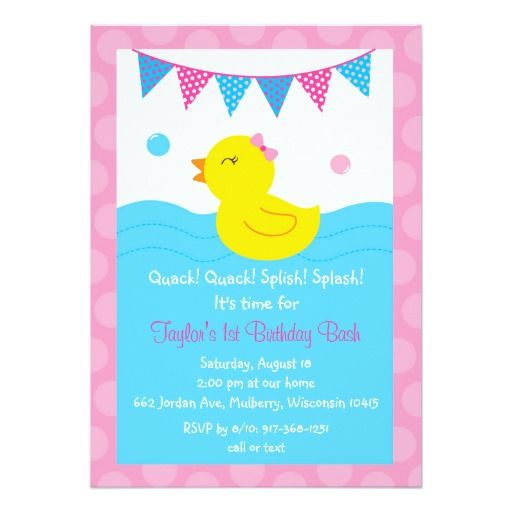 Pink rubber duck birthday invitations duck birthday party pink rubber duck birthday invitations filmwisefo Image collections