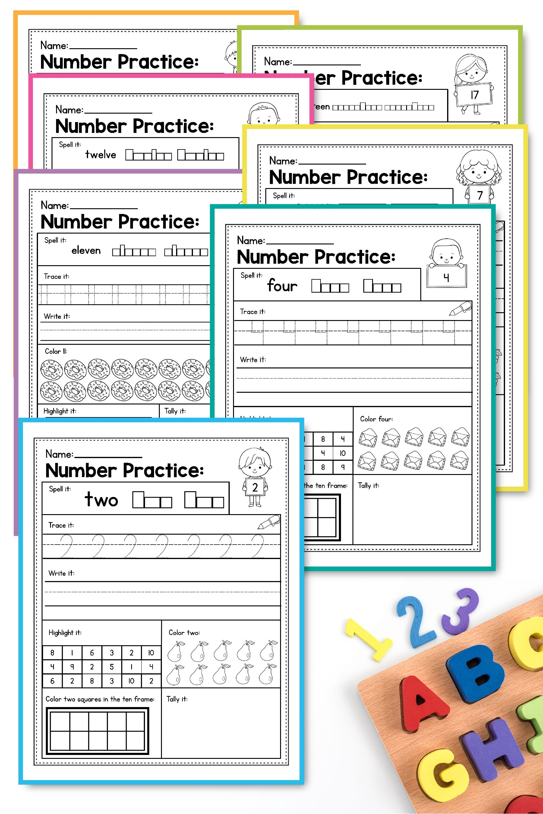 Number Sense Activities Kindergarten Teen Number Worksheets 1 20