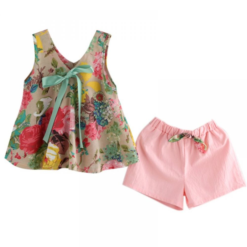 Floral Print Skirt Outfits Infant Baby Kids Girl Sleeveless Flouncing Vest Top