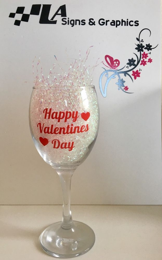 Happy Valentines Day X VINYL DECALS STICKERS CHAMPAGNE WINE - Vinyl decals for drinking glasses