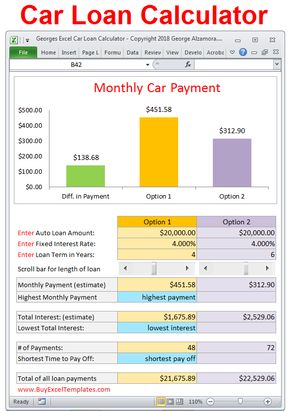 car payment comparison calculator excel templates calculate your monthly car payment and compare to two loan options with different loan amounts