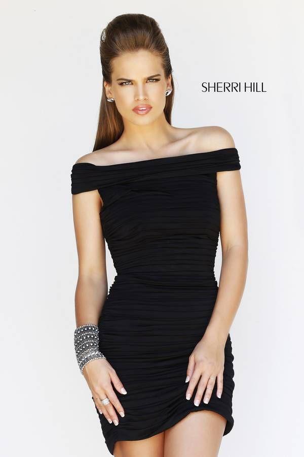 Sherri Hill 9601 Black Ruched Cocktail Dress